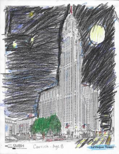 Colored page of the LeVeque Tower in Columbus, Ohio. Done by Carrick (10 & Under Winner)