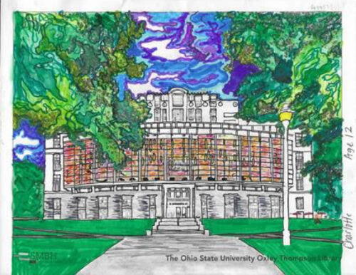 Colored page of the OSU Oxley Thompson Library in Columbus, Ohio. Done by Charlotte(11-15 Winner)