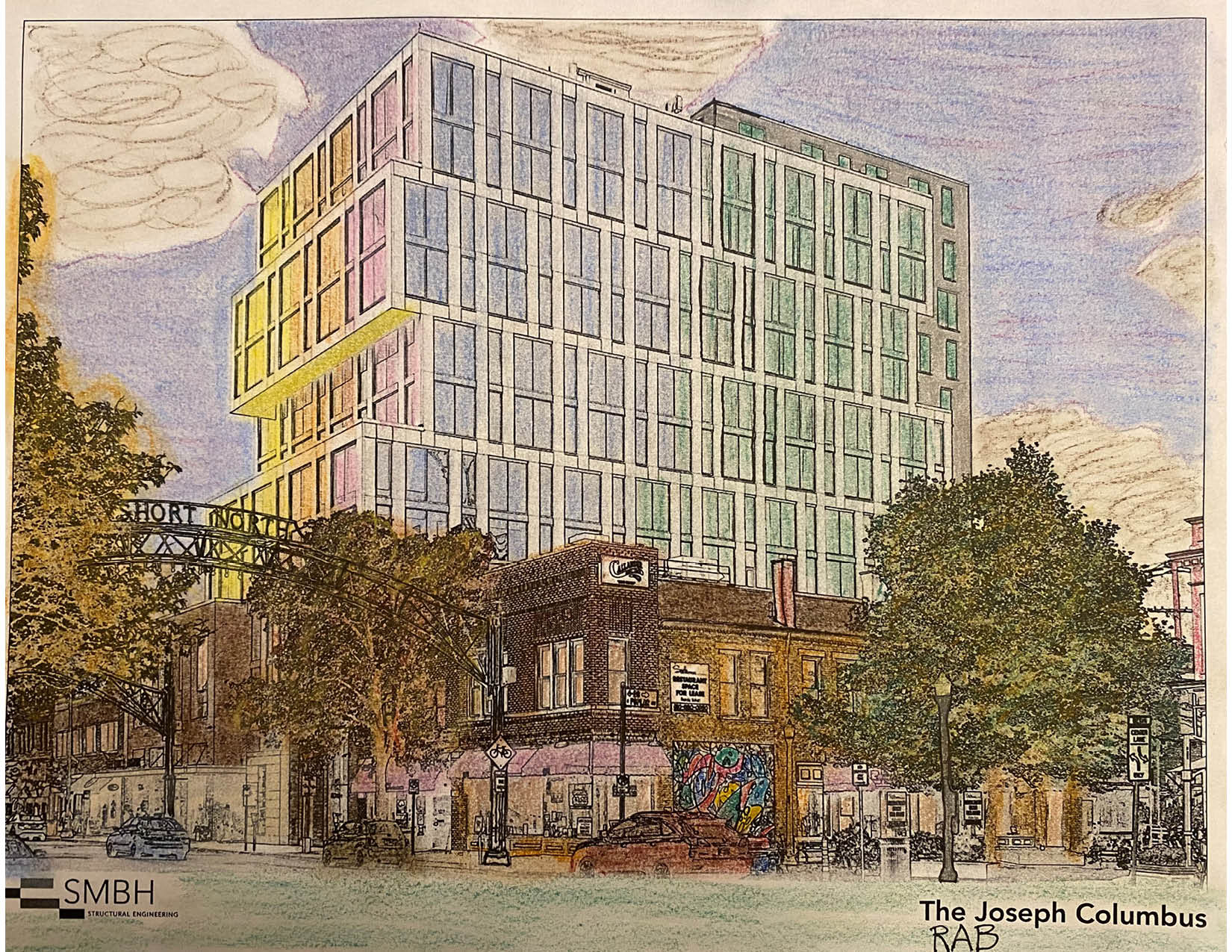 Colored page of The Joseph Hotel in Columbus, Ohio. Done by Bob (21 & Over Winner)