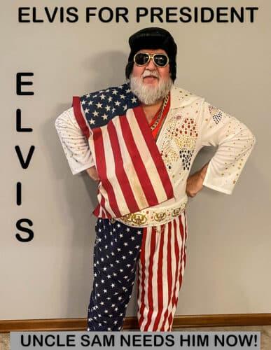 """Bob dressed as """"Elvis for President"""", Winner of Best Overall Costume"""