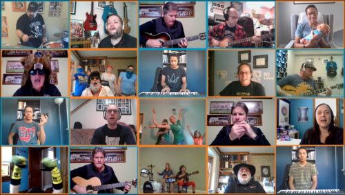 "A screenshot of all performers on the SMBH cover of ""With A Little Help From My Friends"" by The Beatles."