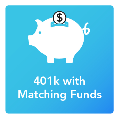 401k with Matching: An icon of a piggy bank with a coin going in