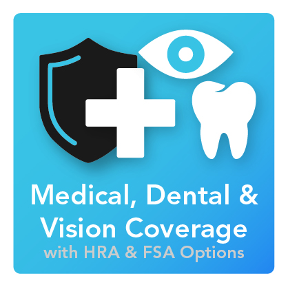 Medical, Dental, and VIsion Insurance: An icon with a shield behind a first-aid cross, an eye, and a tooth